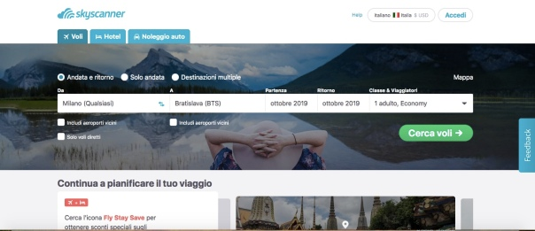 skyscanner italy home page